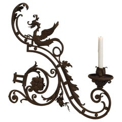 French, Late 19th Century Iron Wall Candleholder