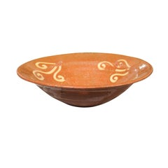French Late 19th Century Jaspe Ware Pottery Bowl with Hand-Painted Scrolls