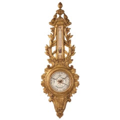 French Late 19th Century Louis XVI Style Giltwood Barometer