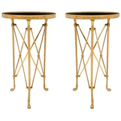 French Late 19th Century Neoclassical Style Ormolu and Marble Guéridon Tables