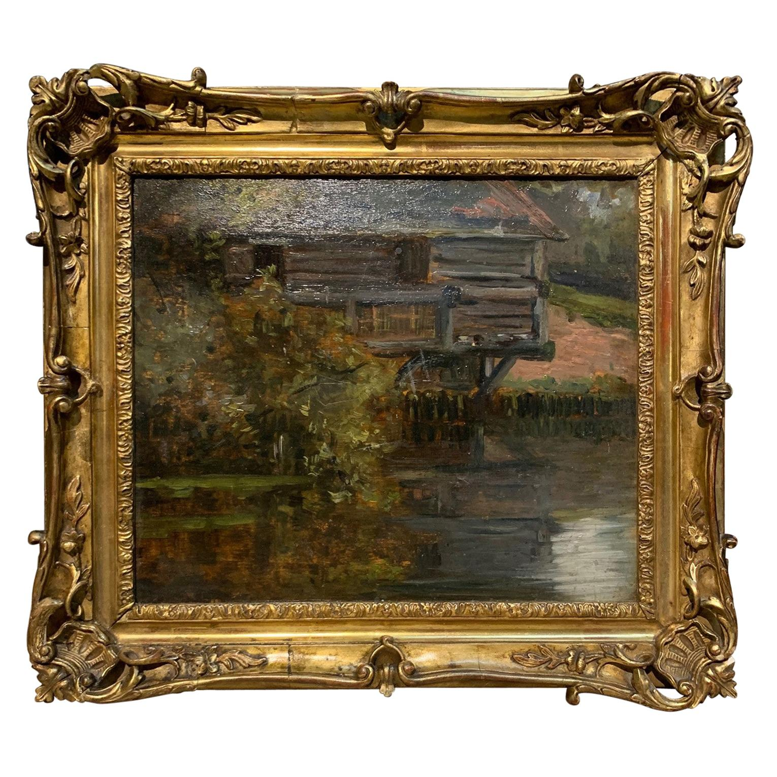 French Late 19th Century Oil on Board Painting of a Mill on the Seine