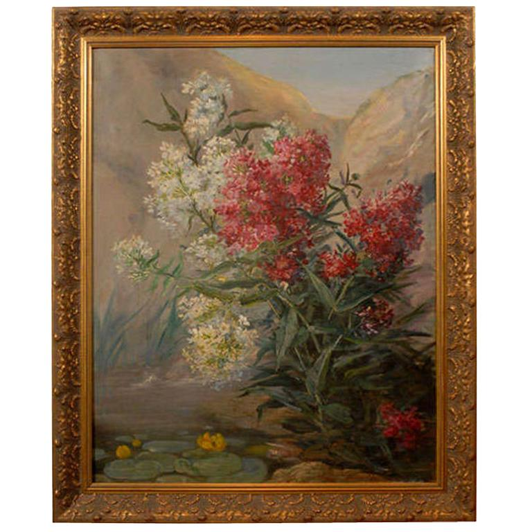 French Late 19th Century Oil on Canvas Still-Life Painting Depicting Flowers