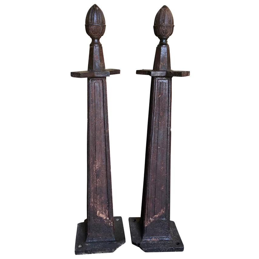 French Late 19th Century Pair of Gate Supports