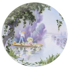 French Late 19th Century Porcelain Decorative Hanging Plate by Edmond Lachenal
