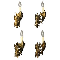 French Late 19th Century Set of 4 Bronze Single Arm Wall Lights