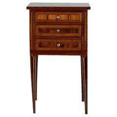 French Late 19th Century Side Table with 3 Drawers, Mahogany and Nutwood Veneer
