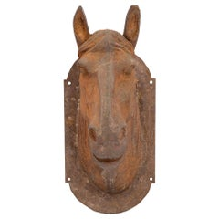 French Late 19th Century Wall-Mounted Statue of a Cast Iron Horse's Head