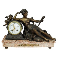 French Late 19th Century, Spelter and Rouge Marble Mantle Clock
