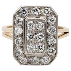 French Late Art Deco 1.20 Diamond 18 Karat Platinum Geometric Ring