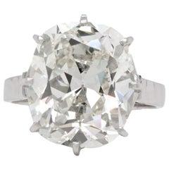 French Late Art Deco GIA 10.06 Carat Antique Cushion Diamond Platinum Ring