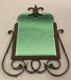 French Late Art Deco / Modern Neoclassical Bronze & Iron Mirror, G. Poillerat