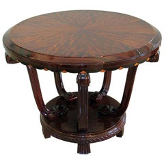 French Late Art Deco Palisander Inlaid Center/Side Table, Maurice Dufrene
