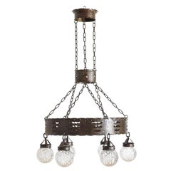 French Late Arts & Crafts Hammered Steel Chandelier, 6 Glass Globes