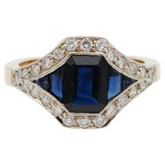 French Late Deco 1.95 Carat Natural Sapphire .40 Carat Diamond Distinctive Ring