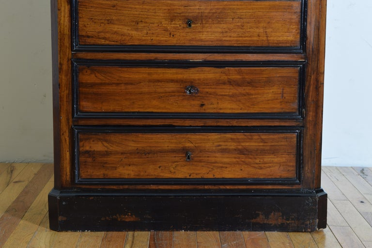 French Late Neoclassic Light Walnut, Ebonized, and Maple Secretary Semanier For Sale 7