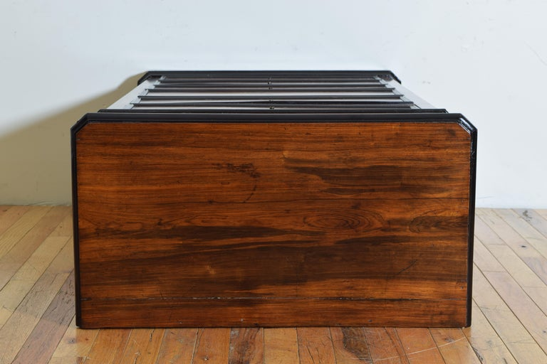 French Late Neoclassic Light Walnut, Ebonized, and Maple Secretary Semanier For Sale 8