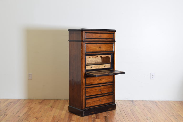 French Late Neoclassic Light Walnut, Ebonized, and Maple Secretary Semanier In Good Condition For Sale In Atlanta, GA