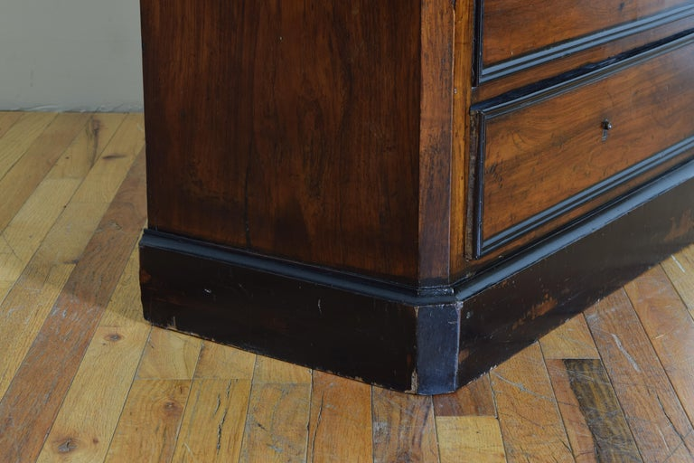 French Late Neoclassic Light Walnut, Ebonized, and Maple Secretary Semanier For Sale 6