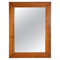French Late Neoclassical Light Solid Walnut Mirror, circa 1830-1840