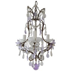 French Lavender Purple Drops Beaded Swags Crystal Prisms Chandelier, circa 1920