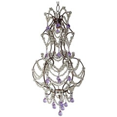 French Lavender Purple Drops with Beaded Swags Chandelier, circa 1920