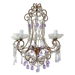French Lavender Purple Murano Drops Swags Crystal Prisms Chandelier, circa 1920