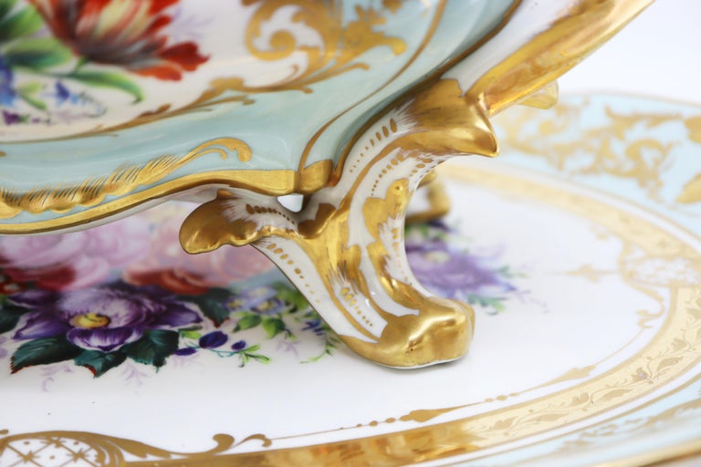 French Le Tallec Hand Painted Porcelain Soupière, Mid-20th Century, Rococo Style For Sale 3