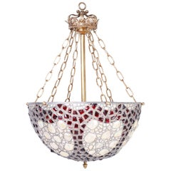 French Leaded Glass and Seashell Light Fixture