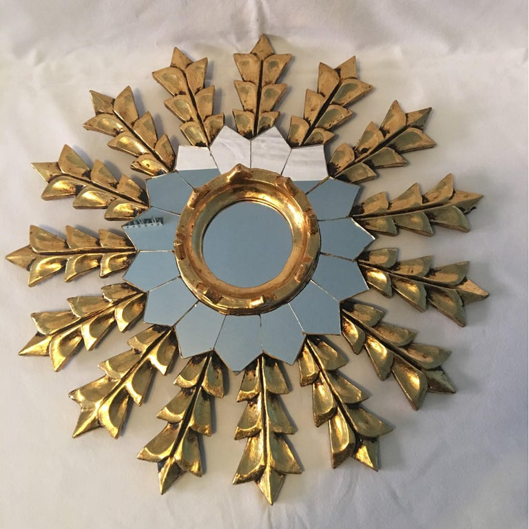 Hand-Crafted French Leaf Gold on Wood Sunburst Wall Mirror For Sale
