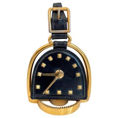 French Leather and Brass Clock in the Style of Jacques Adnet
