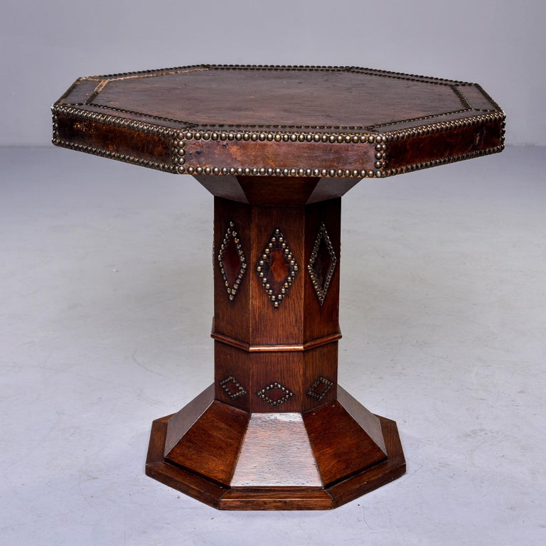 20th Century French Leather and Brass Nail Head Art Deco Octagonal Side Table For Sale
