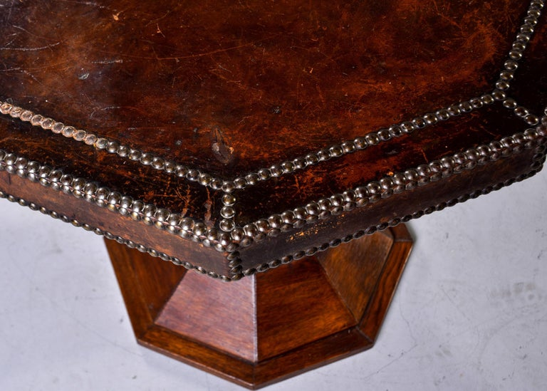 French Leather and Brass Nail Head Art Deco Octagonal Side Table For Sale 1