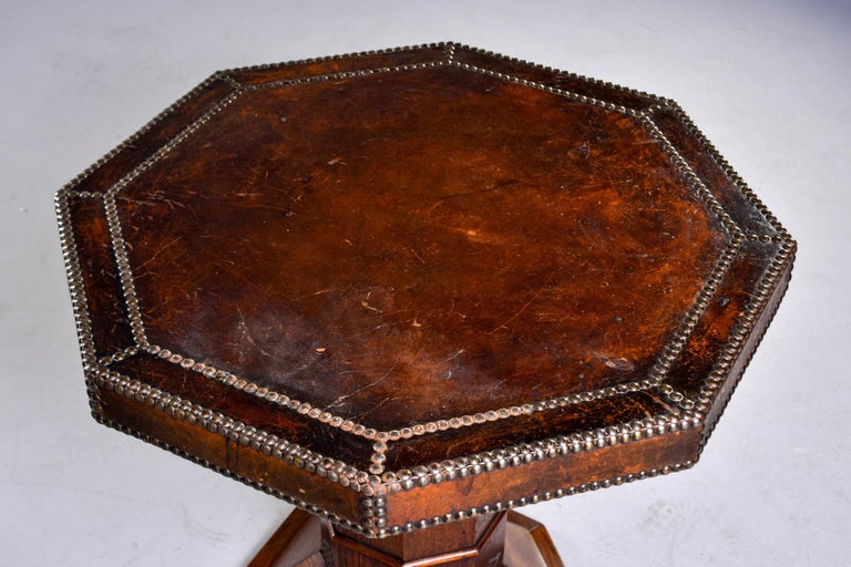 French Leather and Brass Nail Head Art Deco Octagonal Side Table For Sale 2