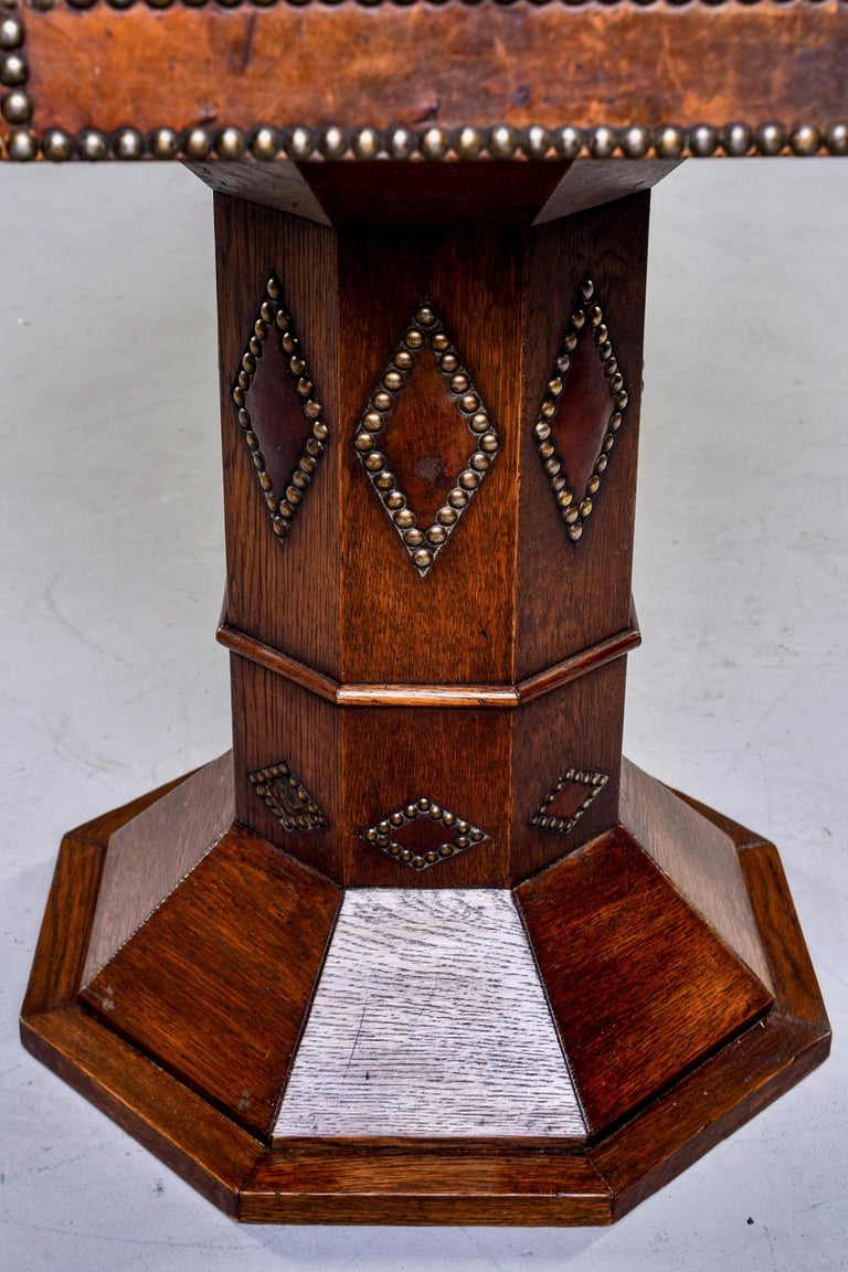 French Leather and Brass Nail Head Art Deco Octagonal Side Table For Sale 3
