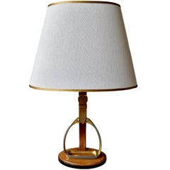 French Leather and Brass Table Lamp by Longchamps