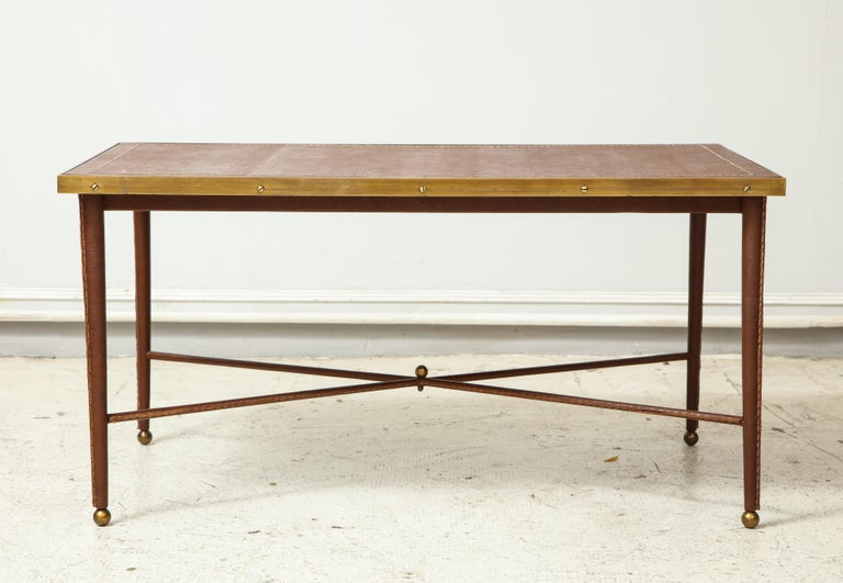 Modern French Leather and Bronze Coffee Table in the Manner of Adnet For Sale