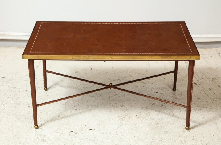 French Leather and Bronze Coffee Table in the Manner of Adnet In Excellent Condition For Sale In New York, NY