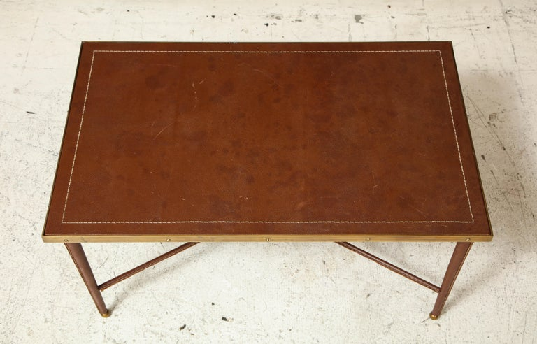 20th Century French Leather and Bronze Coffee Table in the Manner of Adnet For Sale