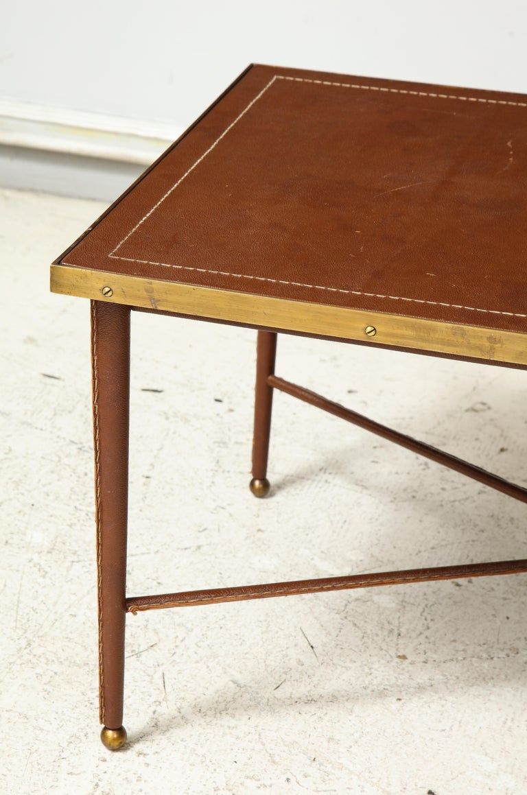 French Leather and Bronze Coffee Table in the Manner of Adnet For Sale 1