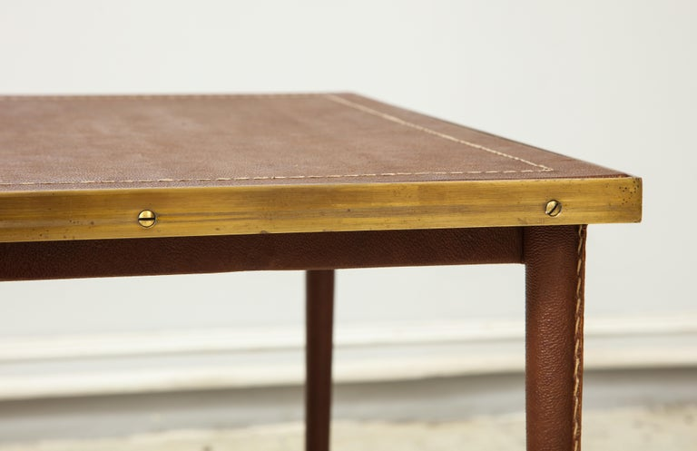 French Leather and Bronze Coffee Table in the Manner of Adnet For Sale 3