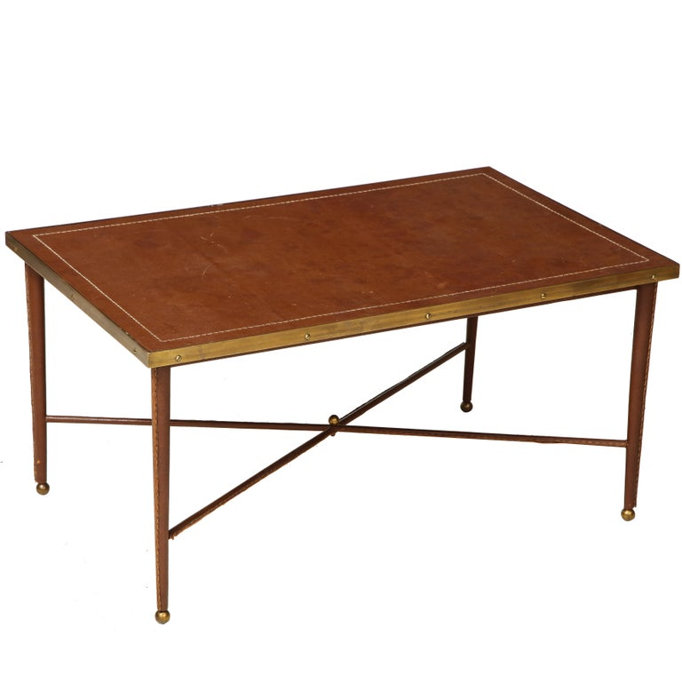 French Leather and Bronze Coffee Table in the Manner of Adnet For Sale