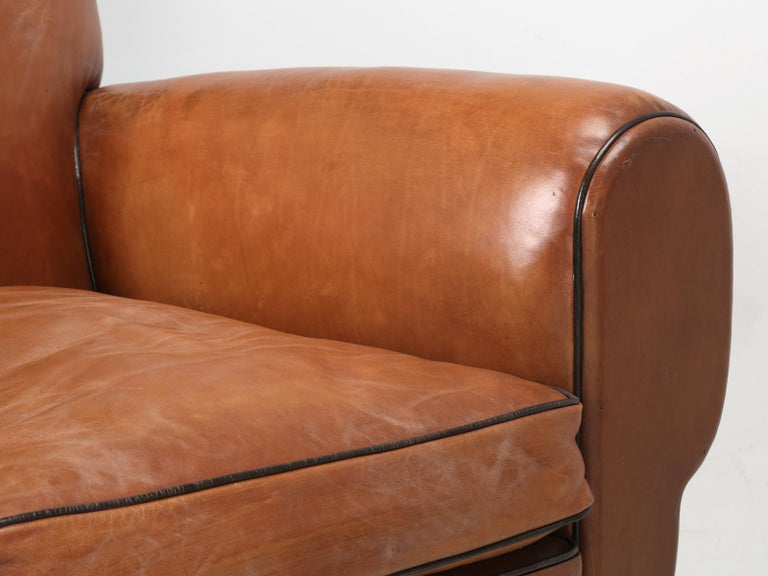 French Leather Art Deco Club Chairs, Restored from the Ground Up, circa 1930s For Sale 8