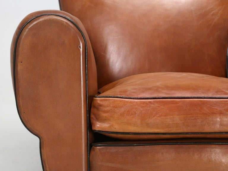 French Leather Art Deco Club Chairs, Restored from the Ground Up, circa 1930s For Sale 9