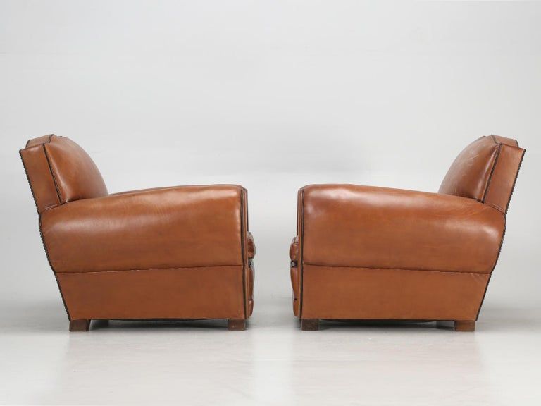 French Leather Art Deco Club Chairs, Restored from the Ground Up, circa 1930s For Sale 11