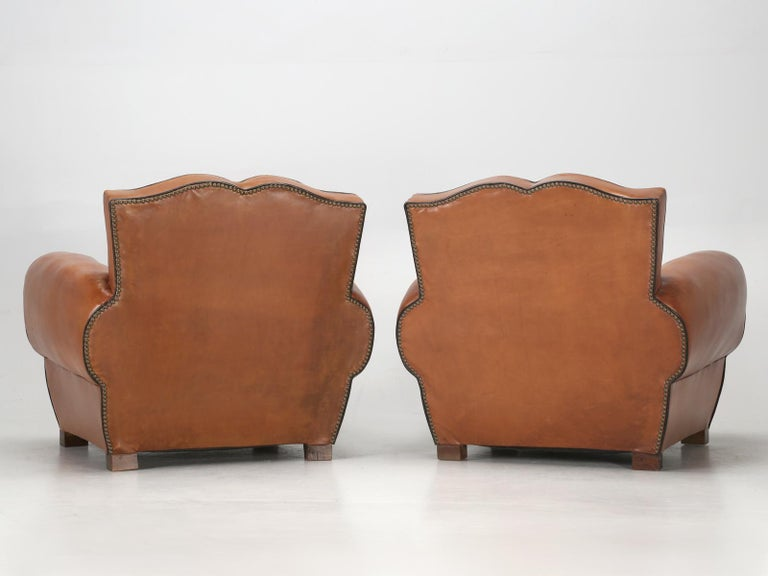 French Leather Art Deco Club Chairs, Restored from the Ground Up, circa 1930s For Sale 12