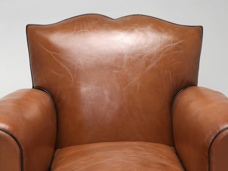 French Leather Art Deco Club Chairs, Restored from the Ground Up, circa 1930s In Excellent Condition For Sale In Chicago, IL