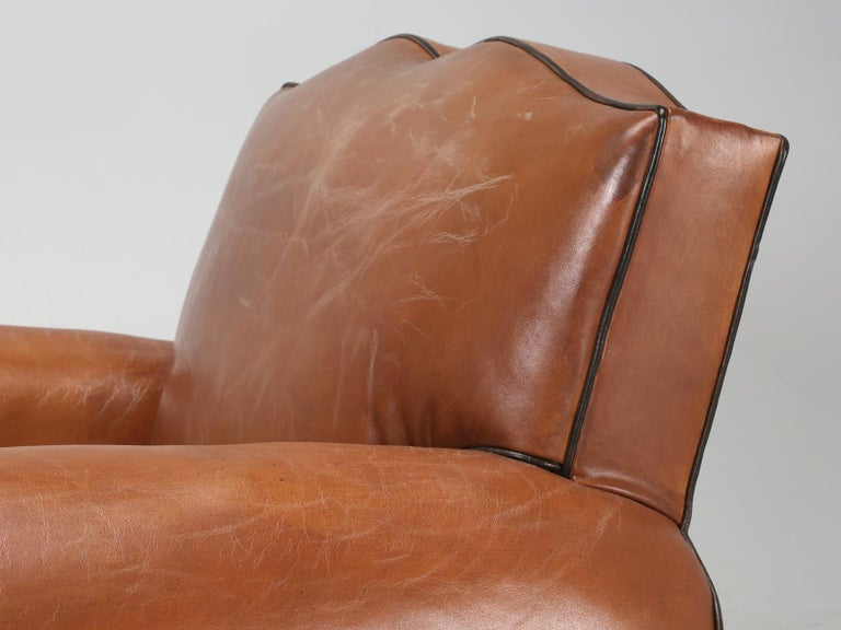 Mid-20th Century French Leather Art Deco Club Chairs, Restored from the Ground Up, circa 1930s For Sale