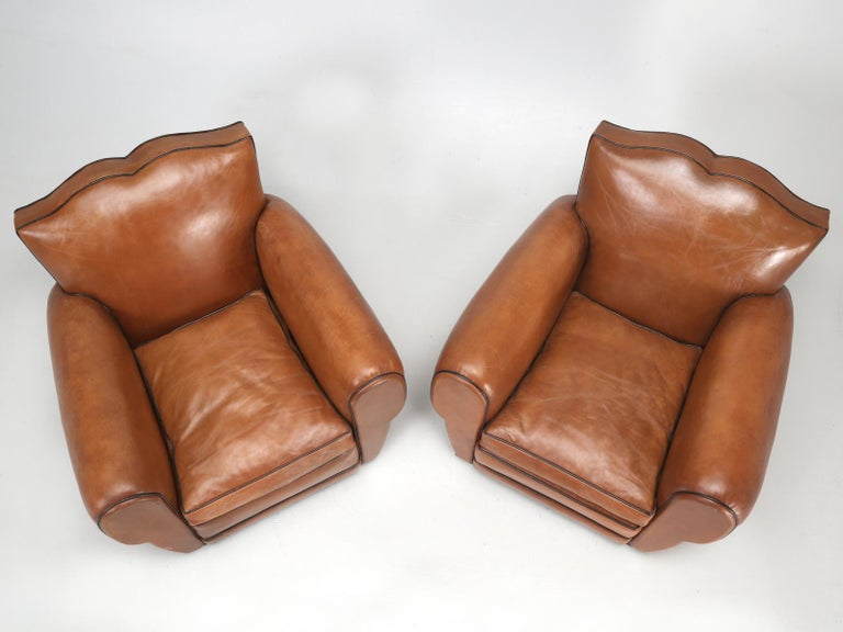 French Leather Art Deco Club Chairs, Restored from the Ground Up, circa 1930s For Sale 1