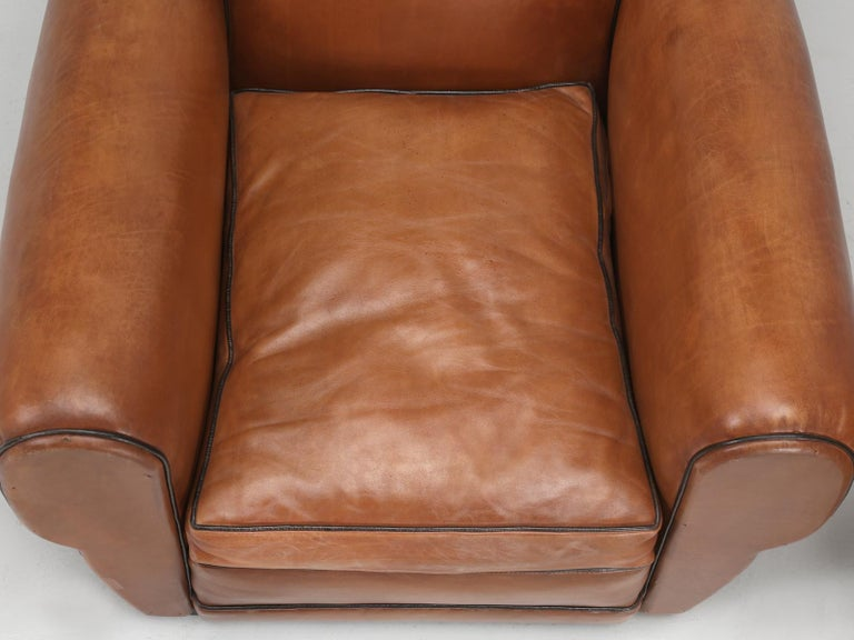 French Leather Art Deco Club Chairs, Restored from the Ground Up, circa 1930s For Sale 2