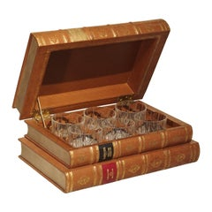 French Leather Bound Book Form Whiskey Set with Crystal Glasses, 20th Century